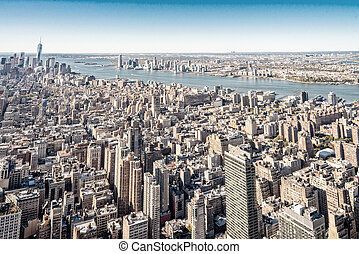 Aerial view of Manhattan midtown and downtown skyscrapers - New York City