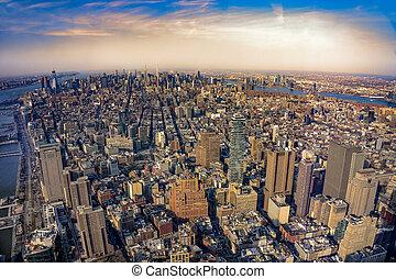 Aerial view of Manhattan New York City before sunset