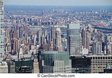 Aerial view of Manhattan, New York City. USA.