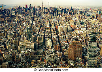 Aerial view of Manhattan New York City