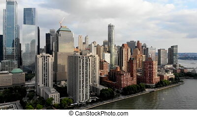 Aerial view of Manhattan skyline with Battery Park, New York, USA.
