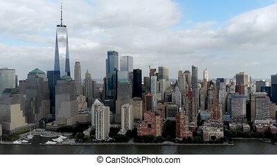 Aerial view of Manhattan Skyline, with World Trade Center, New York, USA.