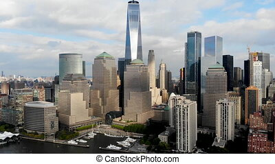 Aerial view of Manhattan Skyline, with World Trade Center, New York, USA. Panoramic skyline with skyscrapers and financial district and Hudson river, New York, USA. Feb 13th, 2020