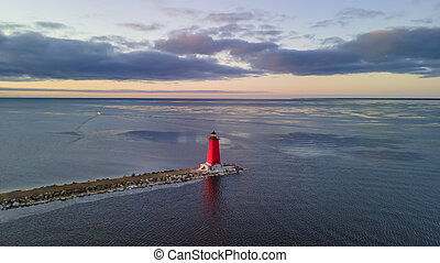 Aerial view of Manistique light house in Michigan Upper Peninsula