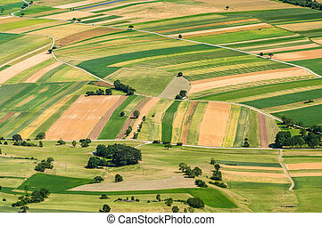 Aerial view of many fields
