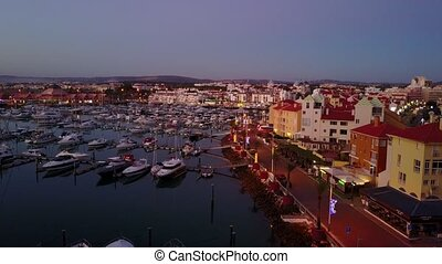 Aerial view of marina and architecture in Vilamoura,...