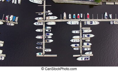 Aerial view of marina full yachts and boats
