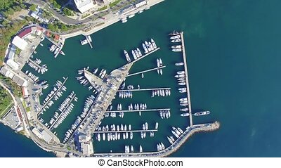 Aerial view of marina in Split, Croatia.