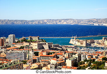Aerial view of Marseille City