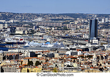 Aerial view of Marseille was taken from the top of Notre ...