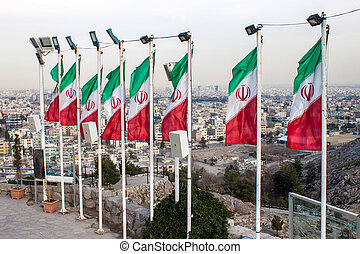 Aerial view of Mashhad with Iranian flags, Iran
