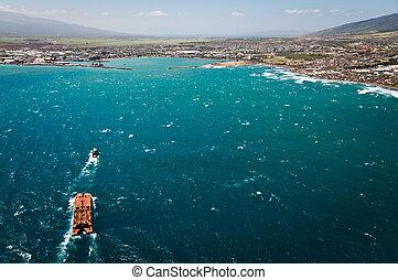 Aerial view of Maui coast line