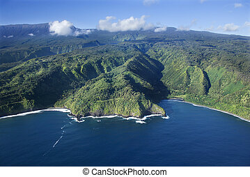 Hawaii coastline. - Aerial view of Maui, Hawaii coastline.