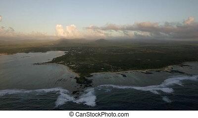 Aerial view of Mauritius surrounded with Indian Ocean -...
