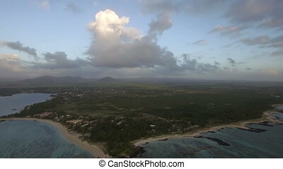 Aerial view of Mauritius with its coastal line - Mauritius -...