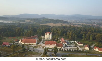 Aerial view of medieval Palace in Western Europe, Wojanow,...