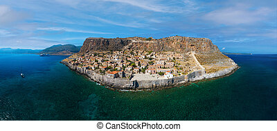 Aerial view of old medieval town of Monemvasia located on small island in Lakonia of Peloponnese, Greece