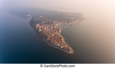 Aerial view of mediterranean coastal town.
