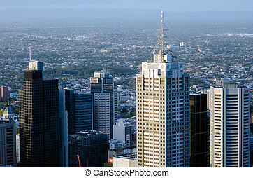 Aerial view of Melbourne Downtown Australia - MELBOURNE -...