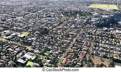 Aerial view of Melbourne outskirts from helicopter, Australia.