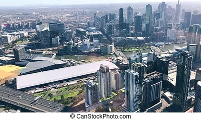 Aerial view of Melbourne skyline from helicopter, Australia.
