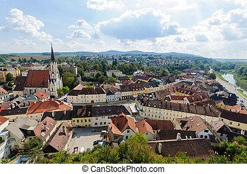 Aerial view of Melk City