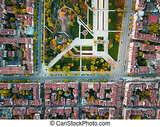 Aerial view of Memorial park in Sofia Bulgaria