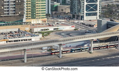 Aerial view of Metro station near Jumeirah lakes towers...