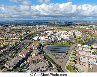 Aerial view of middle class subdivision neighborhood in San Diego, California