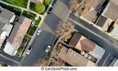 Aerial view of middle class suburban neighborhood with houses next to each other