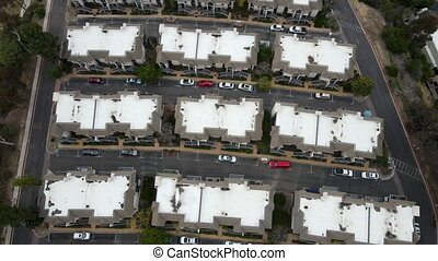 Aerial view of middle class townhouse and residential condos in San Diego, California, USA.