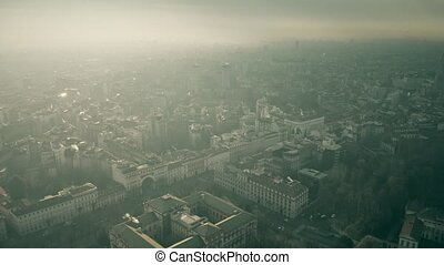 Aerial view of Milan cityscape on a hazy day. Lombardy,...