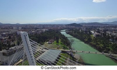 aerial view of Millennium bridge over Moraca river, Podgorica
