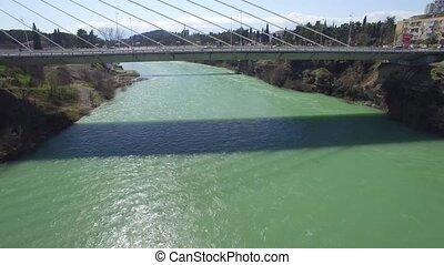 aerial view of Millennium bridge over Moraca river, Podgorica