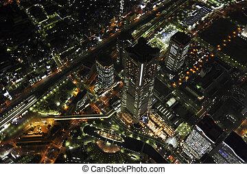 Aerial view of Minatomirai areas