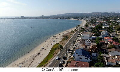 Aerial view of Mission Bay and beaches in San Diego, California. USA
