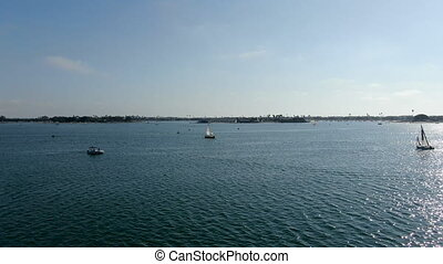 Aerial view of Mission Bay with sailboats in San Diego, California. USA