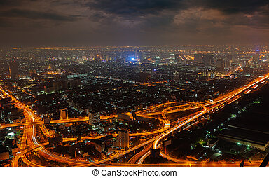 Aerial view of modern big city at night