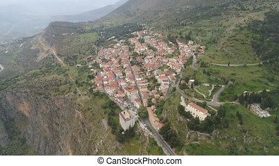 Aerial view of modern Delphi town, near archaeological site...