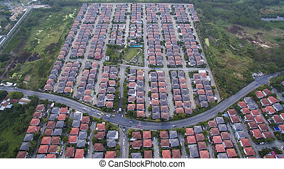 aerial view of modern home village in bangkok thailand