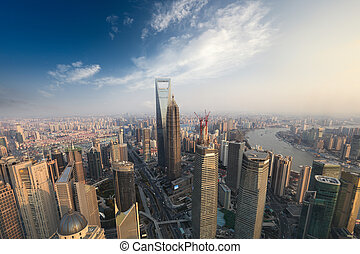 aerial view of modern metropolis in shanghai