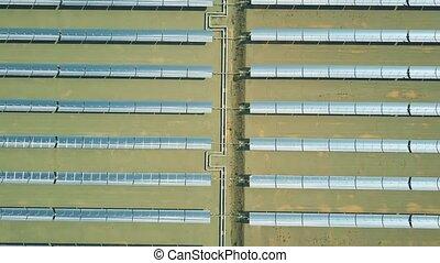 Aerial view of modern molten salt technology solar power...
