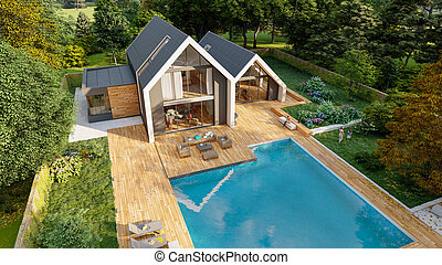 Aerial view of Modern pitched roof villa with pool and garden