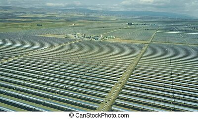 Aerial view of modern solar power plant in Andalusia, Spain