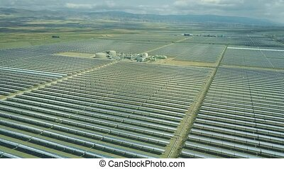 Aerial view of modern solar power plant in Andalusia, Spain...