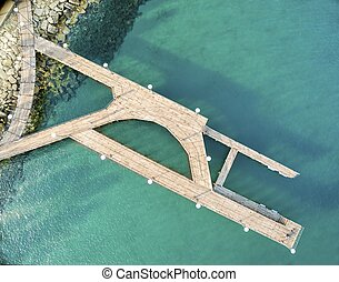 Aerial view of Molos pier, Limassol, Cyprus