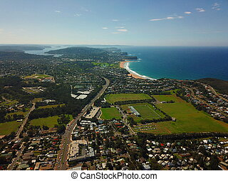 Aerial view of Mona Vale and northern beaches