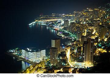 Monaco, Monte Carlo by night - aerial view of Monaco, Monte ...