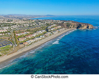Aerial view of Monarch beach coastline