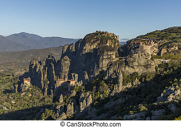 Aerial view of Monastery complex in Meteora
